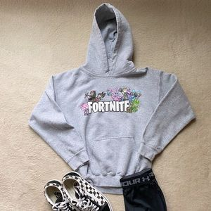 Kids Fort Nite Gray Hoodie Sweatshirt